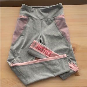 Justice active leggings.  Gray and peachy/pink